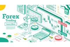 Forex Trading. Outline Isometric Concept. Product Image 1