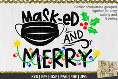 Masked and merry svg   Christmas quote   Funny christmas svg Product Image 4