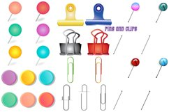 Notepapers, Pins, Paper Clips, Washi Tape Etc. Clip Art Product Image 3