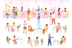 Characters in food court. People eating meal in cafe buffet, Product Image 1