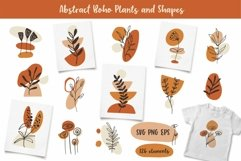 Boho Clipart with Plants and Abstract Shapes, Florals Product Image 1