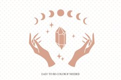 Witch hands svg, Crystal svg, Moon phases svg, Magic gem Product Image 2