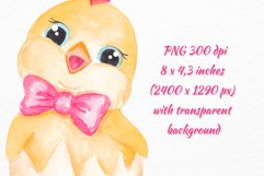 Chicken clipart Watercolor Easter Chick character clipart Product Image 2