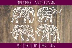 Elephant Mandala Zentangle Bundle Set of 4 - SVG Product Image 1