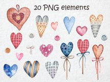 Watercolor set of textile hearts Product Image 2