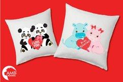 Happy Valentine clipart, Jungle animals clipart, graphics illustrations AMB-596 Product Image 3