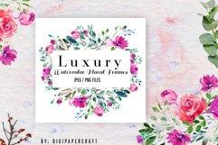Watercolor floral frames, floral clipart, romantic borders Product Image 2