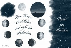Moon Phases and ConstellatiDigital art High quality clipart Product Image 1
