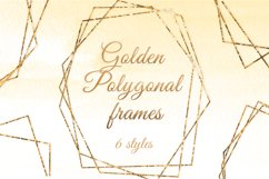 Gold polygonal frames Golden foil frames card design Product Image 1