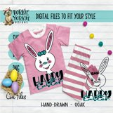 Hand-Drawn - BUNDLE - Boy, Girl Bunny, Happy Easter - SVG Cu Product Image 5