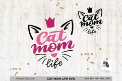 Cat Mom Life SVG, Mama SVG Cat with crown SVG Cat Lover Svg Product Image 2