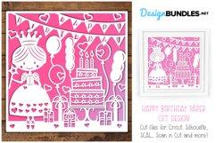 Happy Birthday princess paper cut design Product Image 1