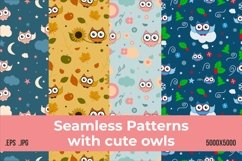 Seamless pattern with owls Product Image 1