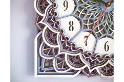 C11 - Wall Clock for Laser cut, Mandala Clock DXF pattern Product Image 4