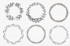 30 Hand drawn floral wreath. Simple line drawing. Product Image 6