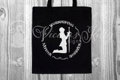 Worshiping Warrior Woman, Christian woman praying silhouette Product Image 4