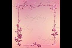 254 Glitter Leaf Branch Border Frame Clip Art Bridal Shower Product Image 2