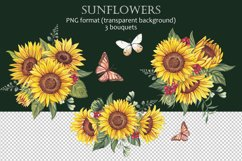 Watercolor sunflowers PNG. Product Image 4
