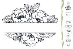 wedding monogram frame with peony flower Cricut SVG cut file Product Image 1