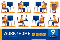 Work From Home Vector Graphic Set 05 Product Image 1