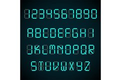 Digital font, alarm clock letters and numbers vector alphabe Product Image 1