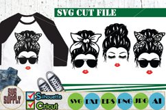 Messy Hair Bun SVG Cut File Product Image 1