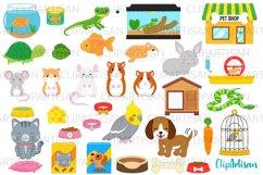 Pets Clipart, Pet Shop Clip Art, Puppy, Kitten, Goldfish PNG Product Image 1