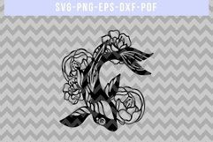 Fish And Peony Papercut Template, Japanese Koi SVG, DXF, PNG Product Image 3