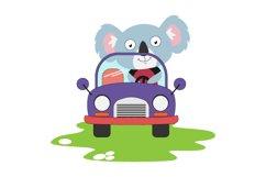cute koala ride a car, simple vector illustration Product Image 1