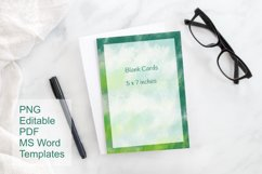 Green Watercolor Blank Card Templates Editable PDF MS Word Product Image 2
