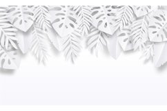 Paper cut tropic background. Summer trendy poster with exoti Product Image 1