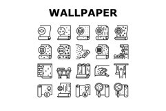 Wallpaper Interior Collection Icons Set Vector Product Image 1