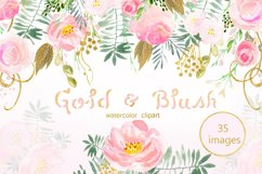 Gold & blush watercolor flowers Product Image 1