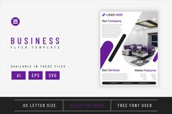 Real estate flyer template with purple geometry shapes Product Image 1