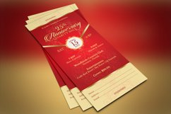 Red Gold Anniversary Gala Ticket Template Product Image 5
