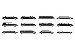 Modern limousine icons set, simple style Product Image 1