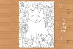 Cat and flowers coloring page. Floral coloring. Product Image 1