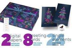 Christmas postcards and wrap digital paper vector bundle Product Image 1