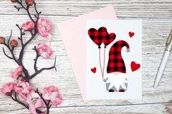 Gnome Valentine Buffalo plaid, love hearts, balloons svg. Product Image 2