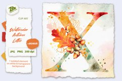 Fall Watercolor Letter, Monogram X clipart JPG PNG Product Image 1