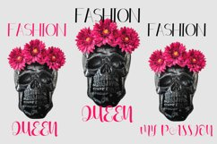 Fashion Queen Sublimation PNG Black skull pink flowers Product Image 6