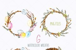 Watercolor Easter Spring Floral Wreath Eggs Clipart Product Image 2
