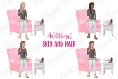 STAY HOME CLIPART - Fashion Girl Planner Graphics Product Image 3