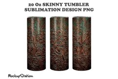 Tooled Leather 20oz Skinny Tumbler Sublimation Design PNG Product Image 2