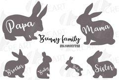 Bunny family silhouettes, pink and blush rabbit Easter decor Product Image 4