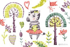 Cute Zebra. Kids horse. Watercolor baby animals clipart Product Image 4