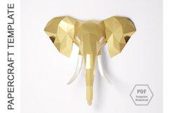 PDF Template of Elephant Papercraft /3D Elephant Lowpoly PDF Product Image 2