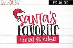 Santa's Favorite Third Grader SVG - Christmas Cut File Product Image 1