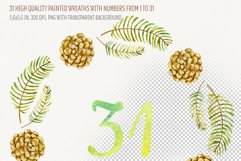 Watercolor wreaths with numbers. 31 days till Christmas Product Image 2