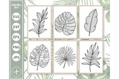 Tropical Leaves SVG, Hand Drawn clipart, Palm Leaves SVG PNG Product Image 1